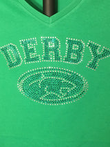 Rhinestone Ladies Derby High School Panthers Oval T-shirt