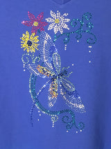 Rhinestone Ladies Dragonfly with Flowers T-shirt