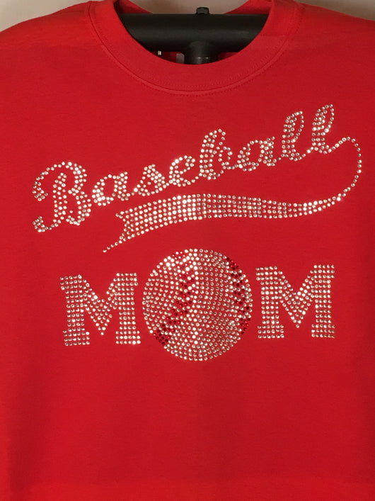 Ladies Rhinestone Baseball Mom T-Shirt