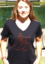 "Ladies Rhinestone Fat Cat ""Oliver"" T-Shirt"