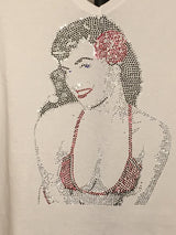Ladies Rhinestone Bettie Page with Boobs T-Shirt