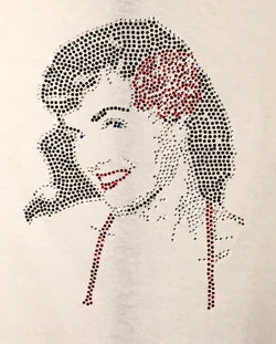 Ladies Rhinestone Bettie Page Face T-Shirt