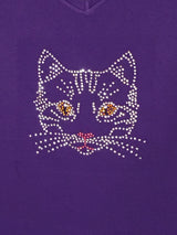 "Ladies Rhinestone Cat Face, ""The Face"" in Silver"