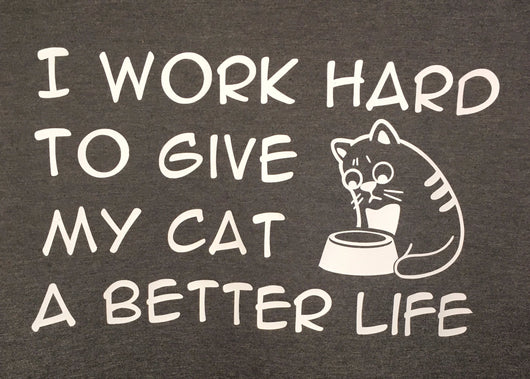I work hard to give my cat a better life