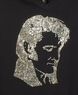 Elvis with Sideburns Rhinestone T-Shirt,  Ladies Rhinestone T-Shirt