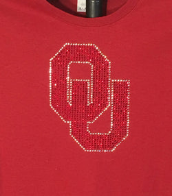 Oklahoma University OU Logo in Rhinestones (Officially Licensed)