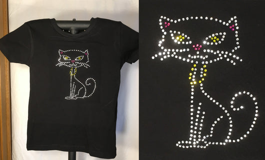 Ladies Rhinestone Kitty T-Shirt