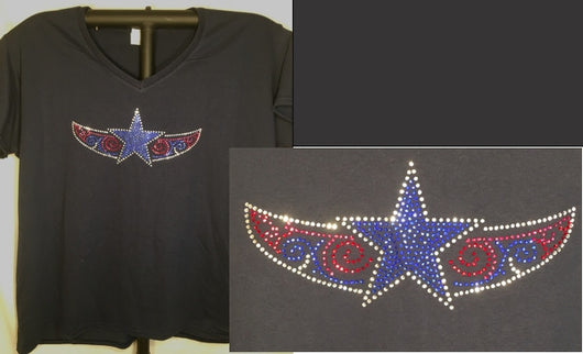Rhinestone Ladies Tribal Star T-shirt