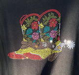 Ladies Rhinestone Boots T-Shirt