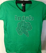 Irish four leaf clover, Ladies Rhinestone T-Shirt