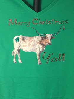 Merry Christmas Y'all.   Show everyone you country roots with this Christmas Longhorn T-shirt.