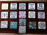 "Zentangle Coasters - Fun Drinking Coasters - Set of Artistic Coasters hand drawn by ZenJoanie - ""Which Way"""