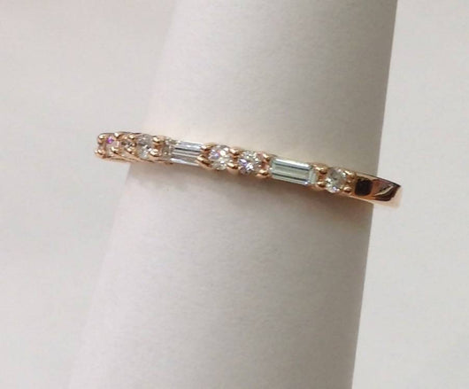 Baguette and Round Diamonds Thin Wedding Stacking Band Ring - 18K