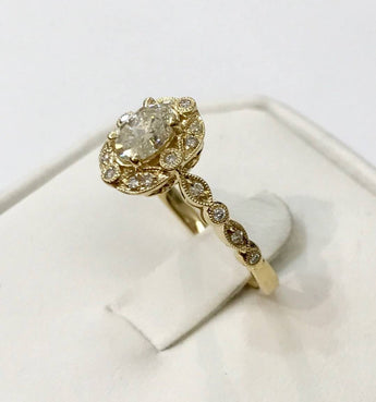Oval Diamond with Vintage Edwardian Style Milgrain Halo and Band 14K Yellow Gold