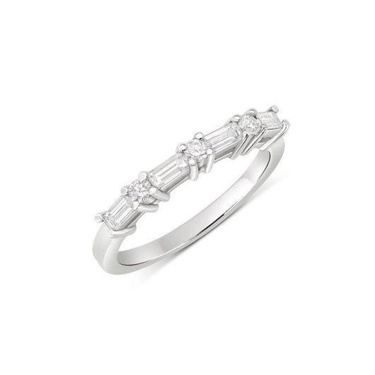 Half Carat Round and Baguette Alternating Diamond Band - 18K Gold