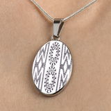 Wow Mom Oval Necklace - Mothers Day Gift - Black and White Zentangle Necklace