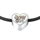 Jersey Girl Leather Charm Bracelet - Heart Shaped Pendant