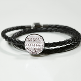 """Waves"" Leather Charm Bracelet - Black and White"