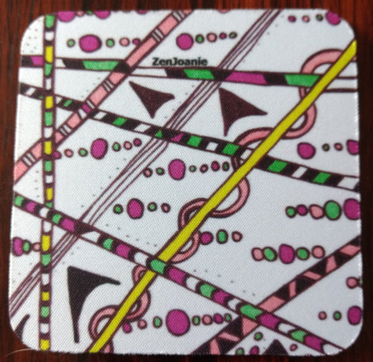 Zentangle Coasters - Fun Drinking Coasters - Set of Artistic Coasters hand drawn by ZenJoanie -