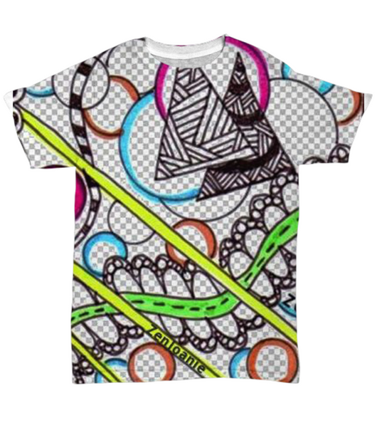 Colored Zentangle T Shirt hand drawn by ZenJoanie - Mesh Grey Background -
