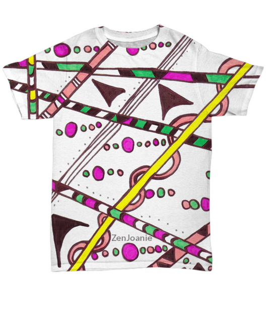Colored Tangle Art T Shirt hand drawn by Zenjoanie -