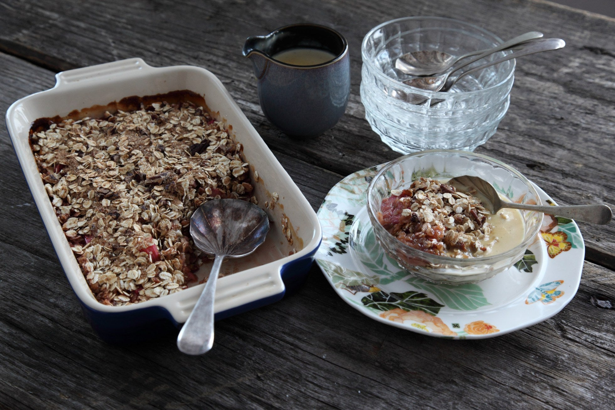 It is always nice to get back to the classics like rhubarb crumble.