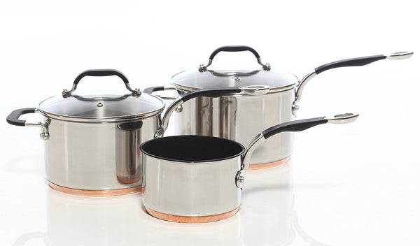 Copper Base Cookware Set of 3 – 14cm, 18cm & 20cm Saucepans