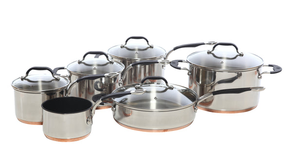 Copper Base Set of 6 – 14cm Milk Pan; 16cm, 18cm, 20cm Saucepans; 26cm Saute Pan; and 24cm Stock Pot