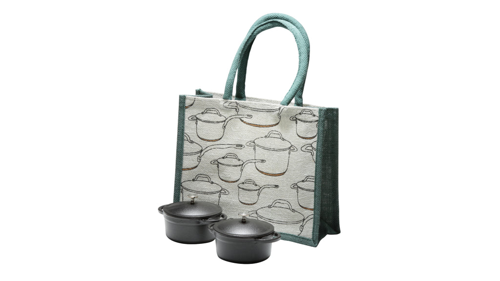 Set 2 Cast Iron Mini Casseroles with Small Tote Bag