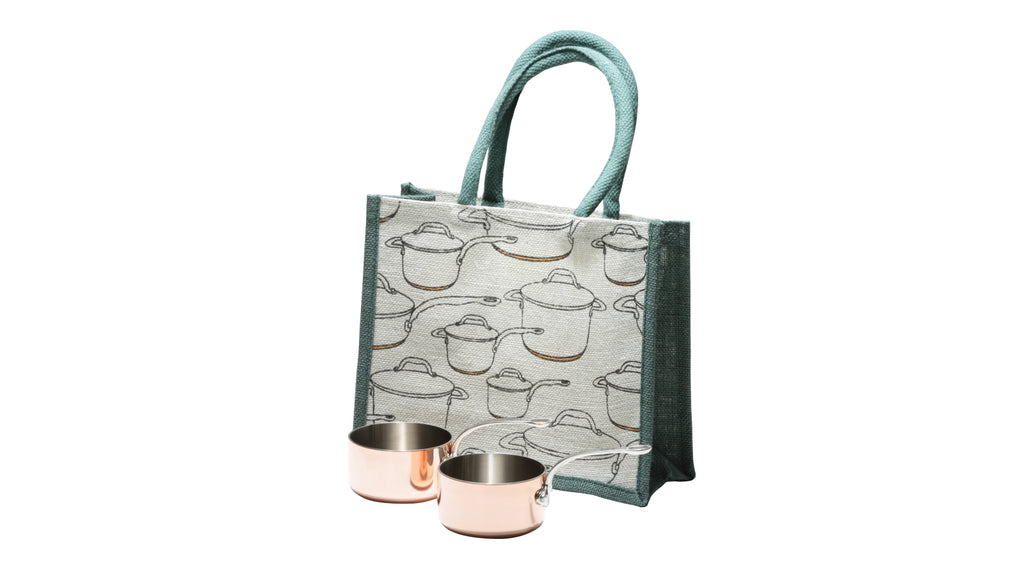 Set 2 Copper Tri-Ply Mini Pans with Small Tote Bag
