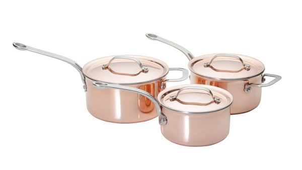 Copper Tri-Ply Set of 3 – 16cm, 18cm & 20cm Saucepans