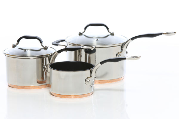 Copper Base Set of 3 – 14cm, 16cm & 18cm Saucepans