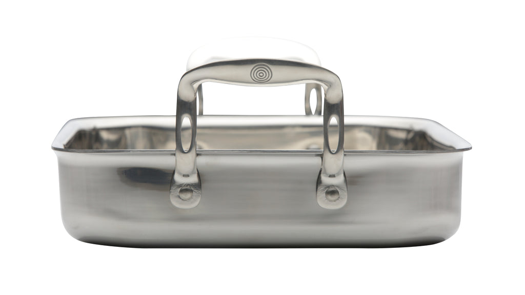 **SPECIAL BUY** Stainless Steel Tri-ply 35cm Roasting Pan and Large Walnut Board