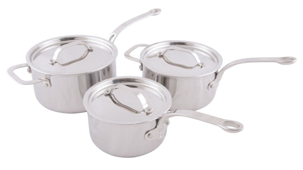Stainless Steel Tri-Ply Set of 3 – 16cm, 18cm & 20cm Saucepans