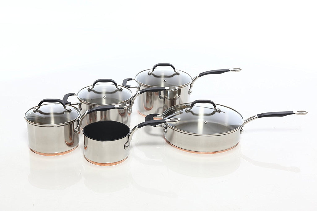 Copper Base Cookware Set of 5 – 14cm Milk Pan; 16cm, 18cm, & 20cm Saucepans; and 26cm Saute Pan