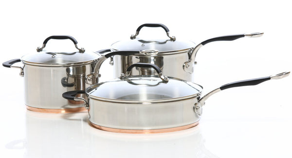 Copper Base Set of 3 – 18cm, 20cm Saucepans & 26cm Saute Pan