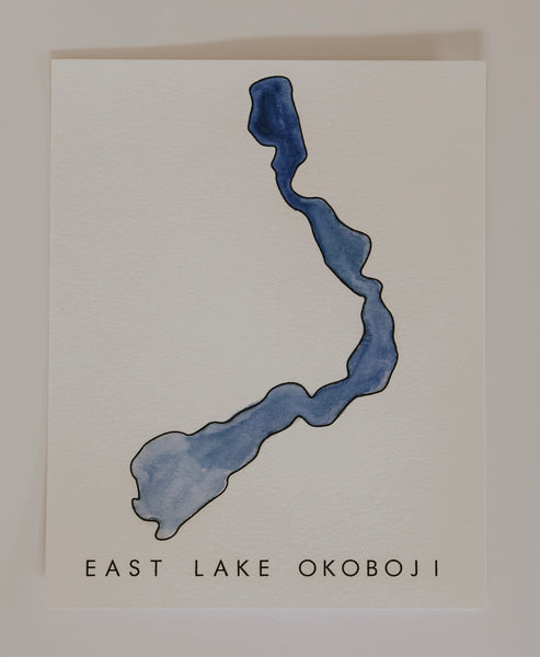 EAST LAKE OKOBOJI WATERCOLOR PRINT