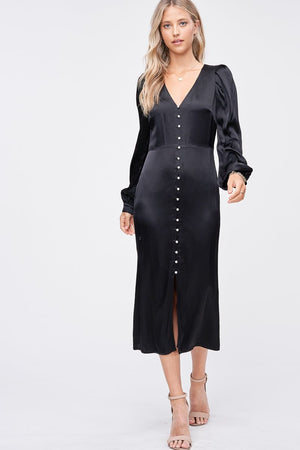 Load image into Gallery viewer, SATIN MIDI DRESS WITH BUTTON DETAIL