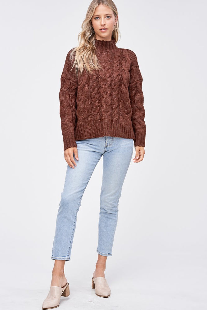 MOCK NECK CABLE KNIT SWEATER BROWN