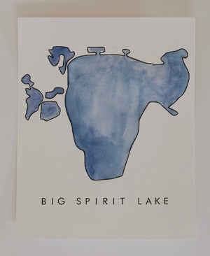 Load image into Gallery viewer, BIG SPIRIT LAKE WATERCOLOR PRINT