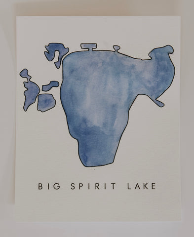 BIG SPIRIT LAKE WATERCOLOR PRINT