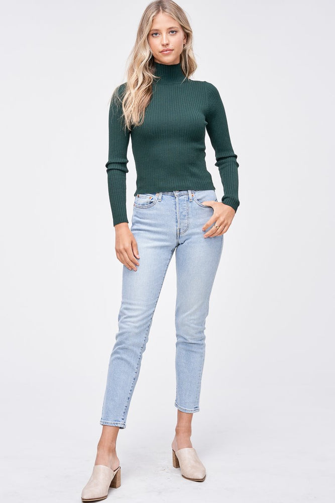 TURTLENECK RIBBED TOP GREEN