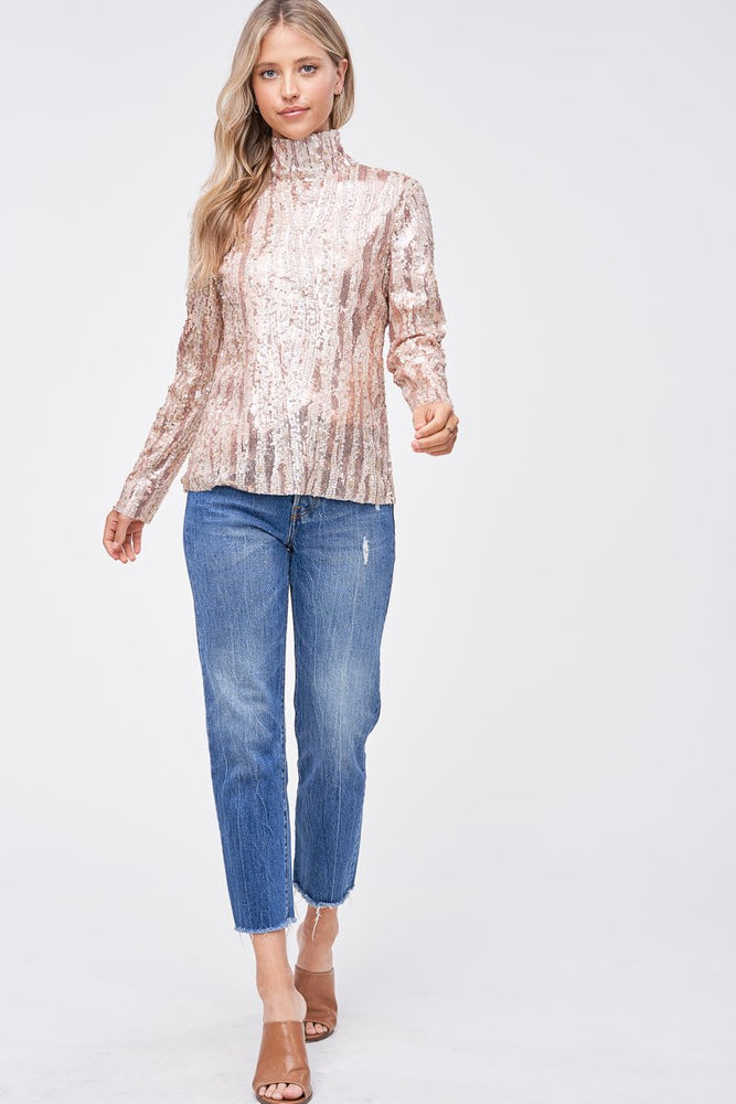SEQUIN MOCK NECK TOP