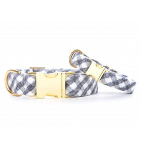 GREY AND WHITE CHECK FLANNEL DOG COLLAR