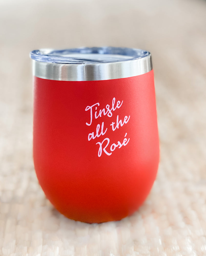 Load image into Gallery viewer, JINGLE ALL THE ROSE WINE TUMBLER