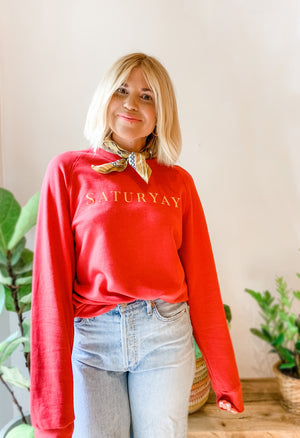Load image into Gallery viewer, SATURYAY SWEATSHIRT RED/YELLOW