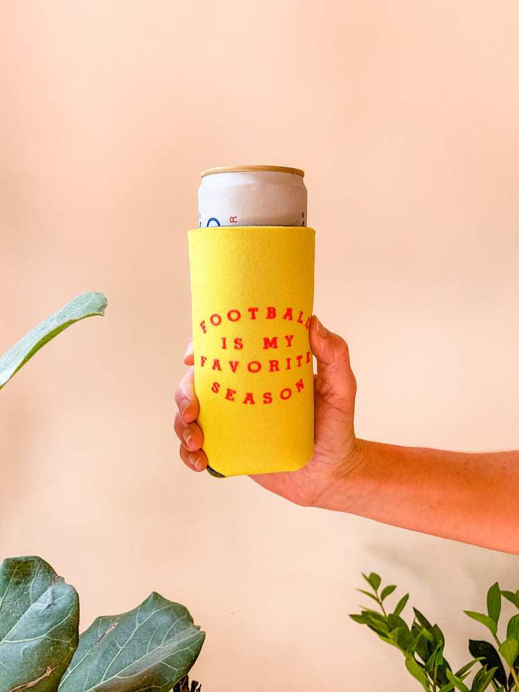 FOOTBALL IS MY FAVORITE SEASON SLIM KOOZIE YELLOW/RED