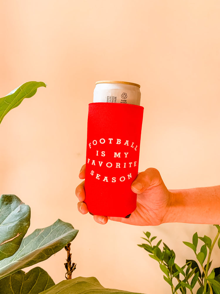Load image into Gallery viewer, FOOTBALL IS MY FAVORITE SEASON SLIM KOOZIE RED/WHITE PACK OF 4