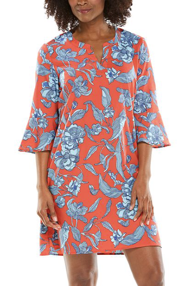 CANNES TUNIC DRESS CORAL VIENNA FLORAL