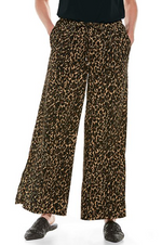 PETRA WIDE LEG PANTS BROWN LEOPARD